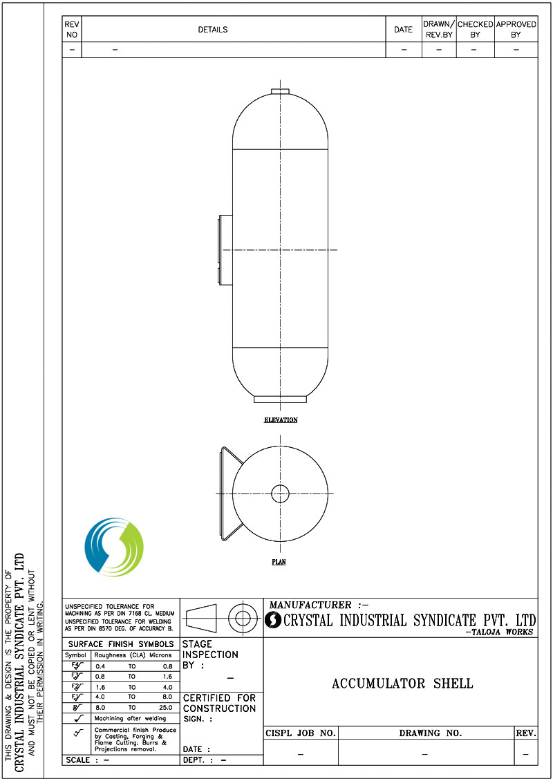 Crystal Industrial Syndicate Pressure Tank Schematic Type 1